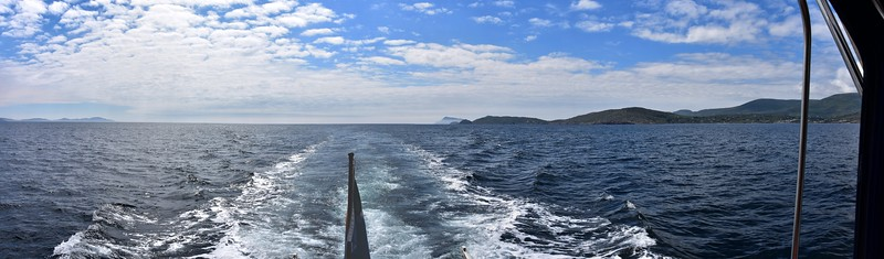 Looking astern as we make our way to Sneem Harbour.