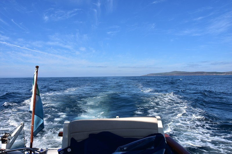 10:23... Looking astern at Mizen Head. Gorgeous sunshine beaming down on us as we head for Baltimore.