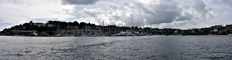 A panorama of Kinsale Harbour. Pity about the overcast sky!