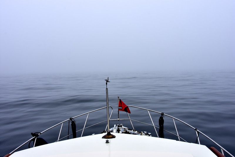 "This is what faced us as we turned ""Arthur"" around from the Fastnet Rock. Visibility is almost non-existent. <br /> <br /> ""Arthur"" and her crew have experienced a handful (and it is literally just a few) of uncomfortable moments over the ten years that we have been engaged in coastal cruising. Each of these situations has seen us cope at the time and learn from the experience. And we had experienced heavy fog on a couple of passages heretofore, including our passage through the Blasket Sound earlier in this trip. And there was also the time we experienced heavy fog a couple of years ago when passaging from Dingle to Kilrush. That particular experience prompted me to purchase the Garmin Radar which is currently installed on ""Arthur"".   <br /> <br /> BUT, without any shadow of doubt this was our worst experience. The sense of disorientation is very powerful. As the following photos illustrate it is like being wrapped in cotton wool. Or perhaps it is similar to being in a large room, one with which you are unfamiliar, and where the room is suddenly plunged into total darkness! <br /> <br /> We couldn't see anything other than the sea immediately around us and the fog that had engulfed us. <br /> <br /> So, you start your engines and begin to move but your mind begins to play tricks on you... Which way are you headed...what if your chart-plotter is faulty?<br /> <br /> You need to get a grip. You need to re-assert control. And in truth, for a few minutes my mind did wander down those black avenues. And then I did a couple of things that gave me re-assurance...I checked the Navionics app on my HTC U11 smartphone; I referenced the Navionics UK&Ireland chart on my Samsung Tablet. And all three (including our on-board Garmin Chartplotter) showed the same location. So, we started to move using the Gamin chart-plotter with the currently installed route and occasionally I cross-referenced it against the apps on my HTC U11 and Samsung Tablet. <br /> <br /> Confidence returned to the crew of ""Arthur"" and we then re-commenced our passage to Berehaven. <br /> <br /> But it was a tense time. We reduced speed, of course, and regularly sounded our horn. And we studied the radar with a vengeance. And on a couple of occasions it alerted us to fishing vessels and leisure craft close by.<br /> <br /> In a subsequent conversation with Bryan Mourning, a US based member of the IWAI Cruising Club and a commercial pilot, I recounted our experience and he likened it to similar experiences that pilots regularly encounter. His primary comment was simple: 'You must trust your instruments'.<br /> <br /> Most of the photos that follow which show ""Arthur"" making her way in the fog simply carry a time reference."