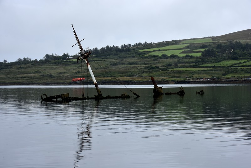 Each time we pass this wreck the visibility is determined by the tide! On this occasion quite a bit of the sunken vessel can be seen.