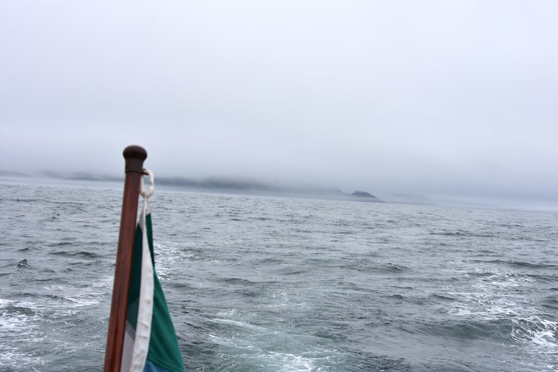 10:34...Cape Clear Island shrouded in fog! Little did we realise that this would be our last sight of coastline for the next three hours!