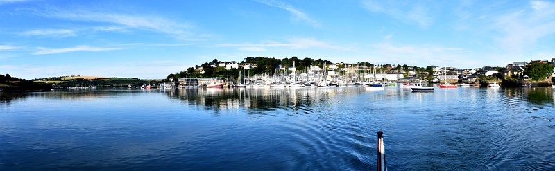 A panorama of Kinsale Harbour as we depart. Note Castlepark Marina on extreme left of photo. Trident Hotel and Marina is slightly left of centre and Kinsale town on extreme right.