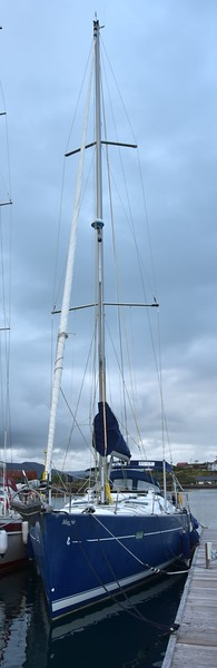 """""""Maggie"""" berthed on the long jetty at Lawrence Cove Marina."""