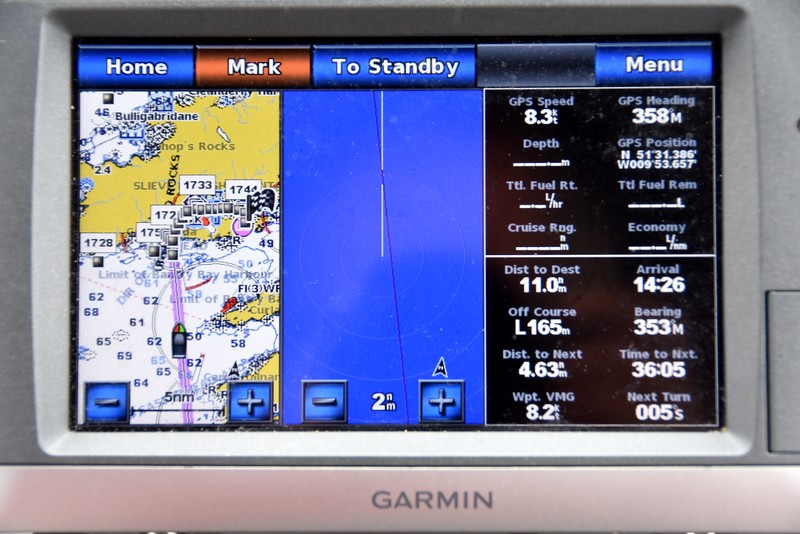 circa 13:00...Our Garmin 750s in 'combo' mode. Chartplotter display is on extreme left. The pink line denotes our pre-planned route; the boat icon reflects our actual position at that time. <br /> <br /> The centre display denotes the information from the radar unit. The base of the white line denotes the current position of the boat. The concentric rings represent .5nm sweeps around the boat. Yellow/white dots, if present on the blue surface, would denote something that is 'reflecting' the radar signal that is being transmitted. Typically this would be a boat or perhaps a marker/buoy or even land or rocks. <br /> <br /> The navigation data on the right panel is fairly self-explanatory. Of particular comfort was the 'Dist to Dest' and 'Arrival' data.