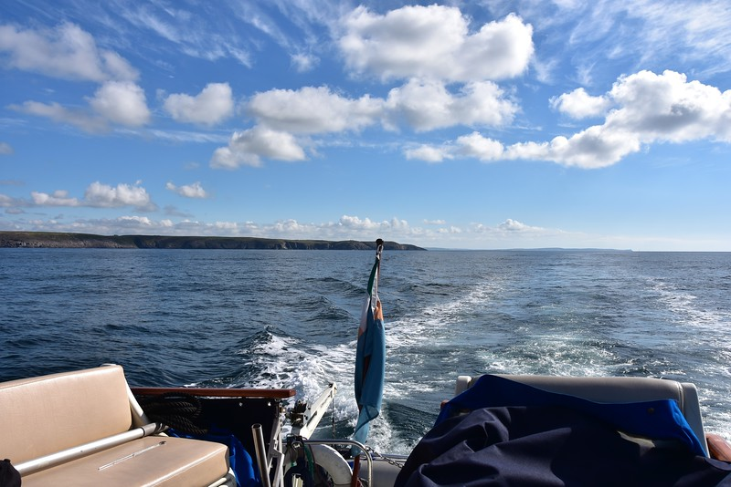 09:49...Looking astern. Almost an hour since the previous photo! Old Head of Kinsale in the distance, on right of photo.