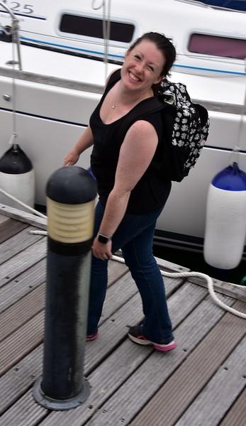 16:26...Rachel greets us at Lawrence Cove Marina.