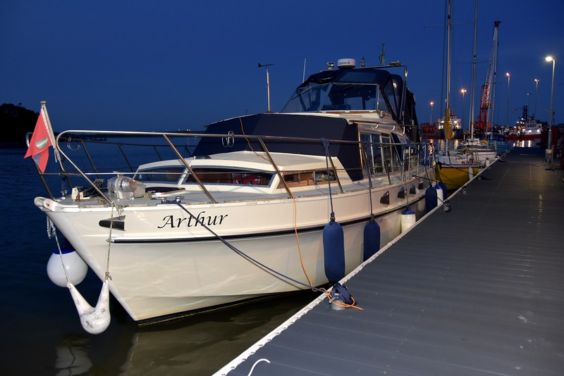 "21:36...""Arthur"" on the long pontoon at Foynes Yacht Club. Note the new pontoon, recently laid."