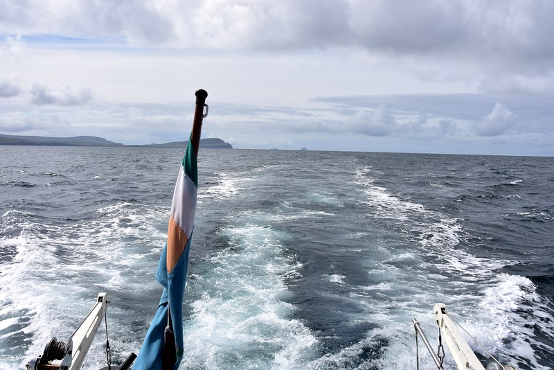 12:03...Looking astern at Valentia Island with Skellig Islands in the distance.