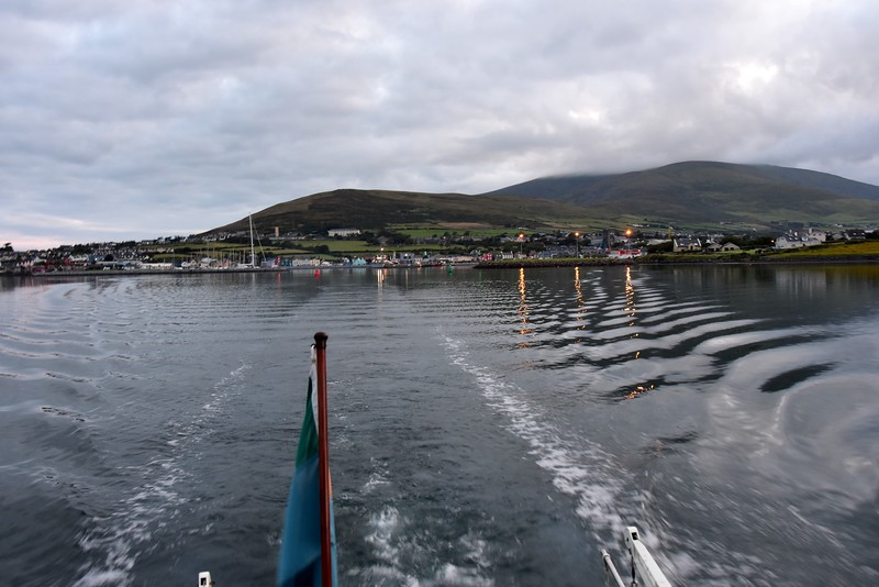 06:11...Dingle the town on right; the commercial harbour in centre; Dingle Marina on left.