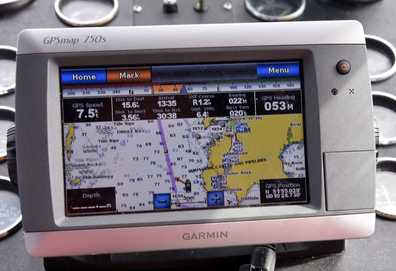 Chartplotter showing our current route. Note our speed of 7.5kt. Also, projected ETA of 13:35.