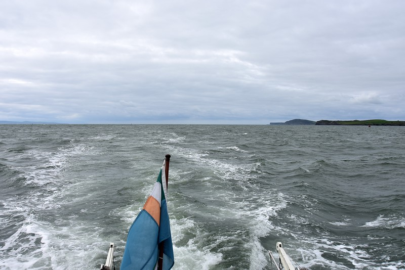13:17...Carrigaholt on right in the distance. Nearly there. It's always a long and demanding passage. Constantly on the lookout for lobster pots. And we will be tired when we finally berth. And then there will be the 'sea motion' for a couple of hours.