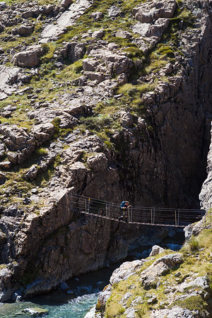 Crossing swing bridge, Arthurs Pass National Park