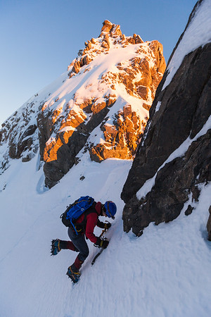 Climber traversing towards Middle Peak of Mount Rolleston from the High–Middle Peak Col, Arthur's Pass National Park