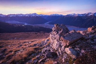 Rock outcrop above Lagoon Saddle and Waimakariri Valley, Arthurs Pass National Park