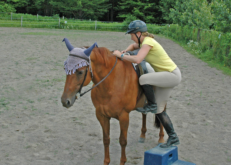 Left hand on mane, right on front of saddle, weight over saddle.  Shiloh is relaxed!