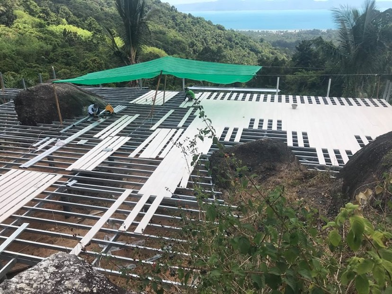 Building the huge deck at Retro Mountain