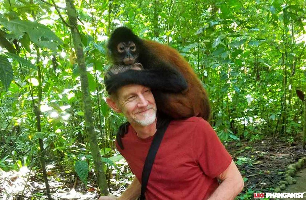 Kristen's Husband with monkey at animal sanctuary in Costa Rica