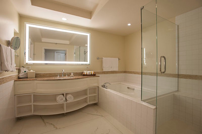 Deluxe Ocean Room Bathroom Renovated with large mirror