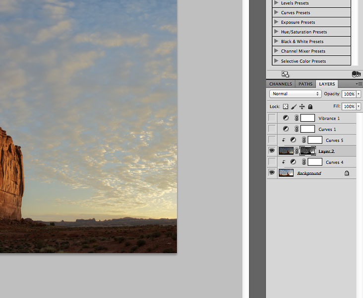 Fig. 4 - Layer Mask Applied<br /> <br /> Here we see the layer mask is applied so you can see detail in the highlights--i.e. the sunrise--and the shadows--i.e. the foreground.  But, the overall scene looks a little bland or inspiring.  There's a technique to fix that which we'll get into next.