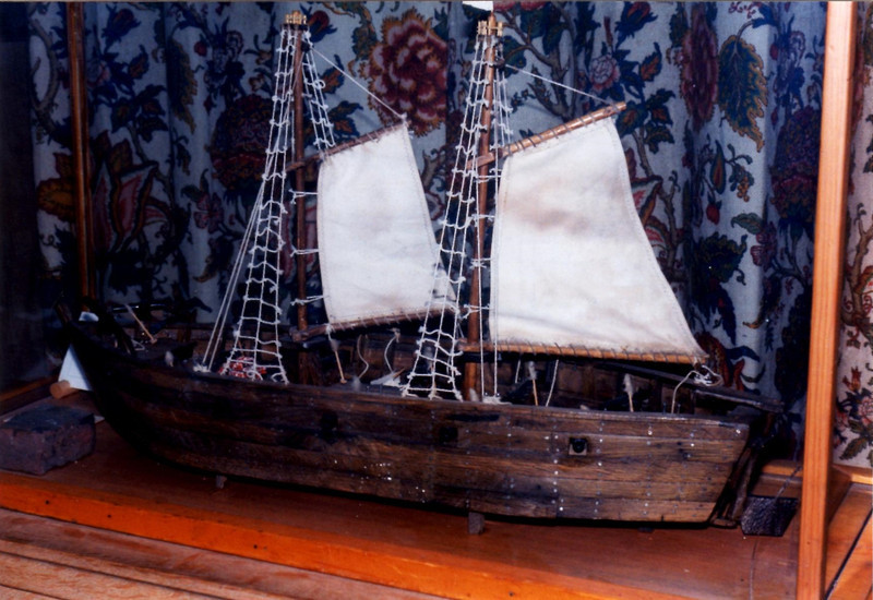 The model made from wood from the gunboat Congress. Note that the scale and rigging are not accurate.