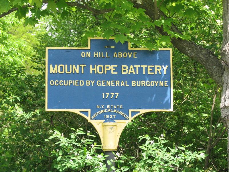 The historical marker on Burgoyne Rd