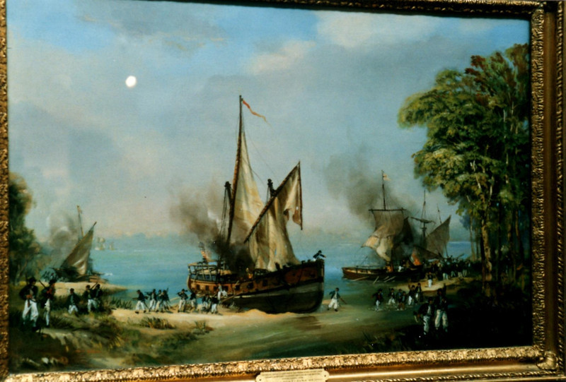 """The painting """"General Arnold destroys his fleet"""" (see next photo for museum label)"""