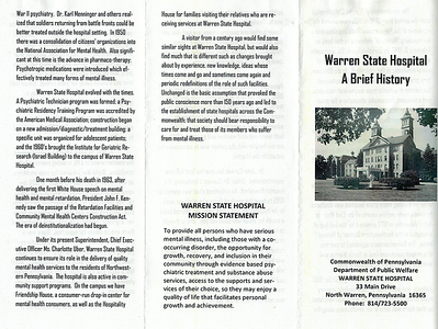 Warren State Hospital Brochure