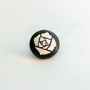 11mm Convex Ebony with White Wood Fill Hubbard Rose Laser Engraved Soft Release Button For Cameras