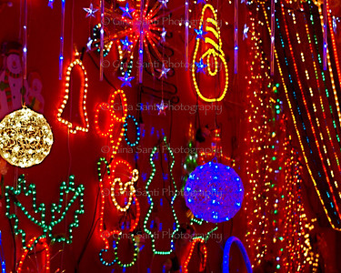 A Christmas wall of lights in Athens, Greece.