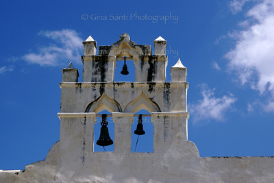 Bell tower of the a church in the city of Campeche, Mexico.
