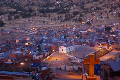 Copacabana at dusk, Bolivia.