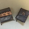 Miniature leather book with leather pouch, copper leather detail