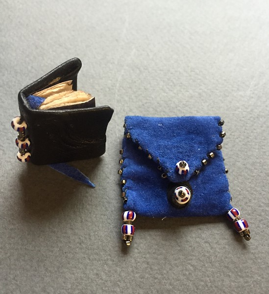 mini mini black  leather book with blue suede pouch