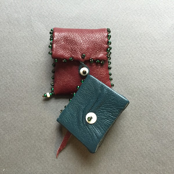 Teal leather miniature book wtih ruby leather beaded pouch