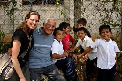 >Linda Panetta and Bishop Gumbleton join children from Suchitoto, El Salvador.