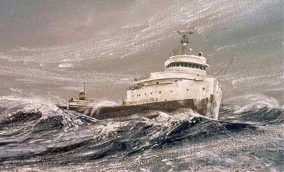 My 46-year-career's most famous and life-changing painting was this 1976 rendition of the S.S. Edmund Fitzgerald struggling in the November 10, 1975, Lake Superior hurricane-force storm that would take it to the bottom around 7:10 p.m. that evening; with the loss of 29 lives.  You will find in my SmugMug site all the other Fitzgerald legend paintings I've done.