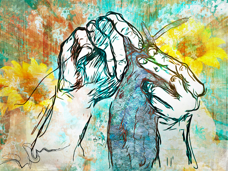 This is a many layered attempt to create a composition that began with a sketch my brother made of my mother's hands while she was knitting, several years ago.<br /> <br /> It was done in iColorama… during a couple of evenings, playing on the iPad, adding images & textures & colours & layers, until finally I had something that I sorta liked. Surprisingly! <br /> <br /> I know it's technically not a photo, (although it began as one) but I would like to share with you anyway, I always value your thoughts & your critiques are always welcome… :-)<br /> 02/07/19