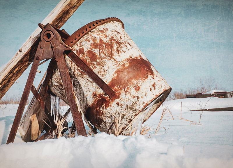 Found this old cement mixer left out in the snow years ago. <br /> <br /> Isn't it funny how something old & rusty pulls the camera right to the eye?<br /> 02/28/19