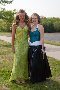 Corset style teal bodice and skirt with black overlay (right)
