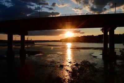 Sunset under the Casco Bay Bridge