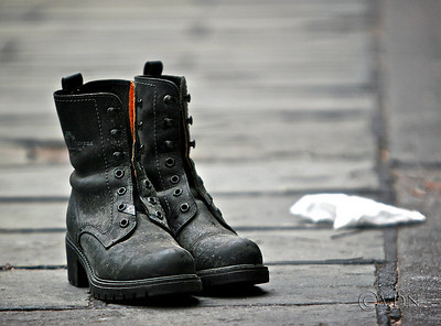 Quo Vadis / Where Are You Going / Quo Vadis<br /> These boots were sitting on the sidewalk just like that, I didn't even touch them, somebody left them there as a gift for the homeless...