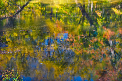 Colorful impressionistic reflections of autumn trees in water.