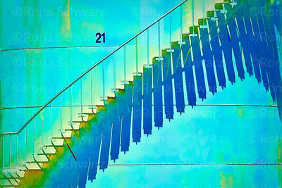 Colorful staircase in light and shadow, Auckland, New Zealand
