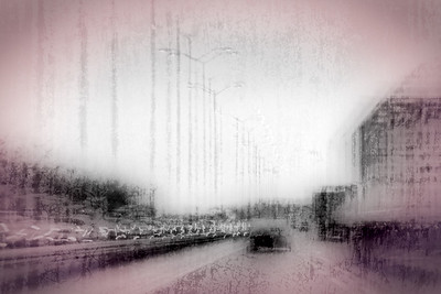 Driving along the interstate in the rain: Digitally Altered