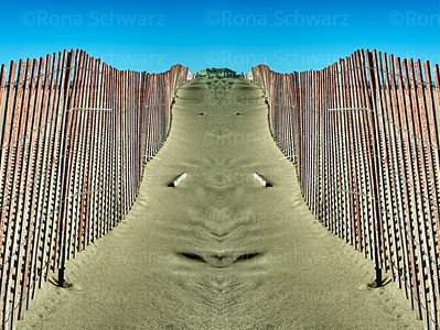 Artistic rendition of dune fences, Grand Haven, Michigan