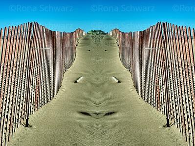 Artistic rendition of dune fences, Grand Haven, Michigan