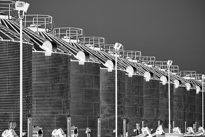 Corn cribs in a row, Brookston, Indiana