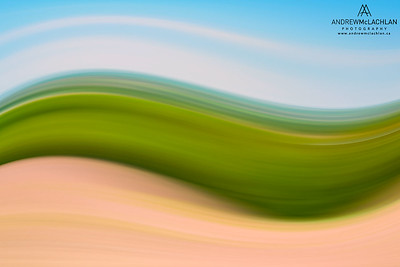 In-camera blur of farmland near Thornton, Ontario, Canada
