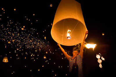 Let all your worries burn and fly away at the greatest lantern festival on earth.  Chiang Mai, Thailand
